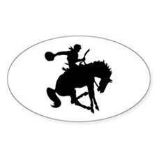 Bucking Bronc Cowboy Oval Decal