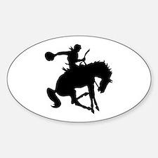 Bucking Bronc Cowboy Oval Decal