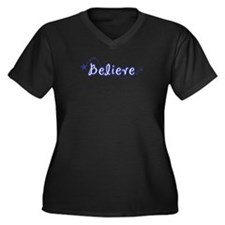 (Blue) Believe Women's Plus Size V-Neck Dark T-Shi