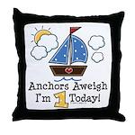 1st Birthday Sailboat Party Throw Pillow