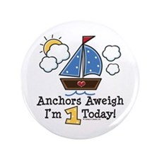 """1st Birthday Sailboat Party 3.5"""" Button"""