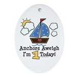 1st Birthday Sailboat Party Oval Ornament