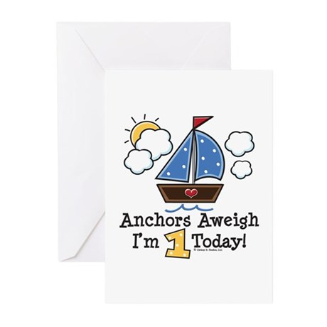 1st Birthday Sailboat Party Invites 10 Pack