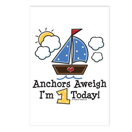 1st Birthday Sailboat Party Announcements 8 Pk