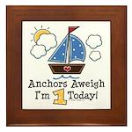 1st Birthday Sailboat Party Framed Tile