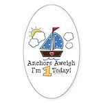 1st Birthday Sailboat Party Oval Sticker (50 pk)