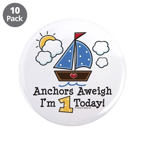 """1st Birthday Sailboat Party 3.5"""" Button (10 pack)"""