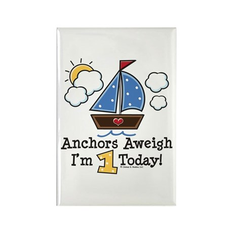 1st Birthday Sailboat Party Rectangle Magnet (100