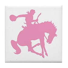 Pink Bronc Cowboy Tile Coaster