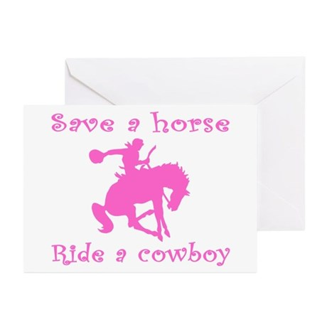 Pink Curly Ride A Cowboy Greeting Cards (Pk of 10)