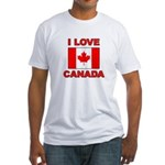 "Canadian Flag ""I Love Canada"" Fitted T-Shirt"