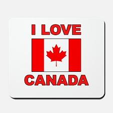 """Canadian Flag """"I Love Canada"""" Mousepad"""