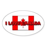 "Canadian Flag ""I Love Canada"" Oval Sticker"