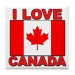 "Canadian Flag ""I Love Canada"" Tile Coaster"