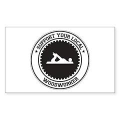Support Woodworker Rectangle Sticker 10 pk)