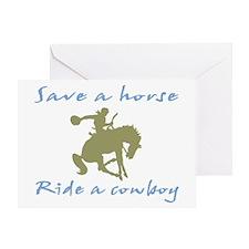 Ride A Cowboy (green/blue) Greeting Card