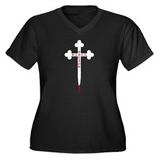 Black Satans Women's Plus Size V-Neck Dark T-Shirt