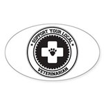 Support Veterinarian Oval Sticker