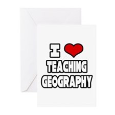 """I Love Teaching Geography"" Greeting Cards (Pk of"
