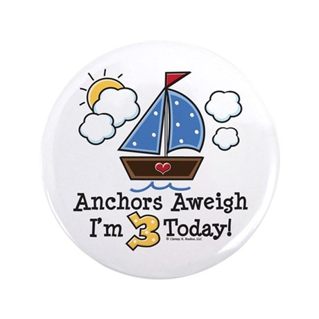 "3rd Birthday Sailboat Party 3.5"" Button"