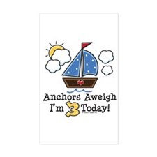 3rd Birthday Sailboat Party Rectangle Decal