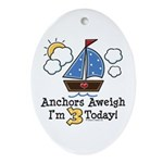 3rd Birthday Sailboat Party Oval Ornament