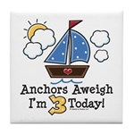 3rd Birthday Sailboat Party Tile Coaster