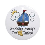 4th Birthday Sailboat Party Ornament (Round)