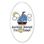 4th Birthday Sailboat Party Oval Sticker (10 pk)