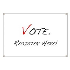 """Vote. Register Here!"" Banner"