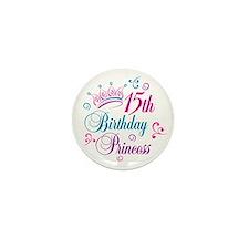 15th Birthday Princess Mini Button