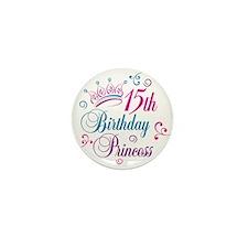 15th Birthday Princess Mini Button (10 pack)