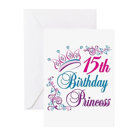 15th Birthday Princess Greeting Cards (Pk of 10)
