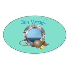 Sailing Mouse on Vacation Oval Decal