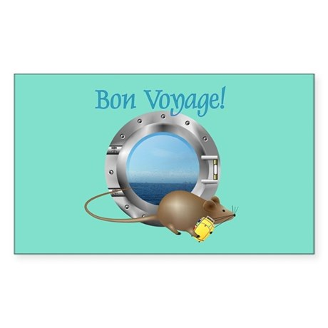 Sailing Mouse on Vacation Rectangle Sticker
