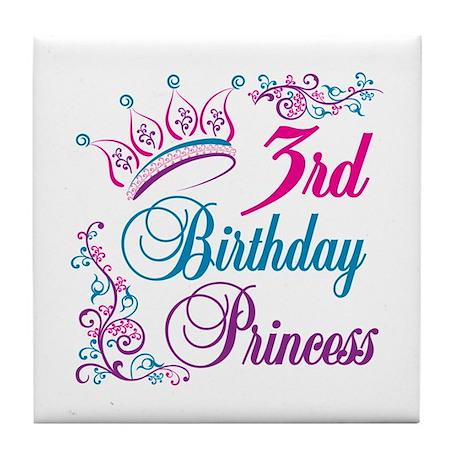 3rd Birthday Princess Tile Coaster