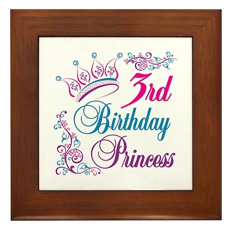 3rd Birthday Princess Framed Tile