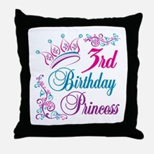 3rd Birthday Princess Throw Pillow
