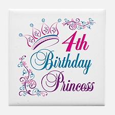 4th Birthday Princess Tile Coaster