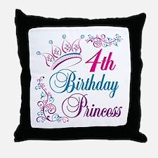 4th Birthday Princess Throw Pillow