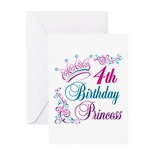 4th Birthday Princess Greeting Card