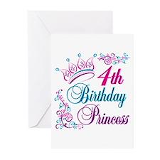4th Birthday Princess Greeting Cards (Pk of 10)