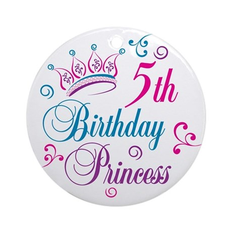 5th Birthday Princess Ornament (Round)