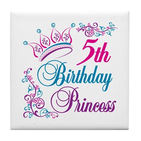 5th Birthday Princess Tile Coaster