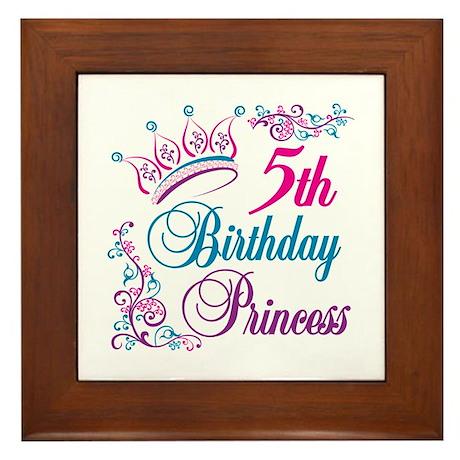 5th Birthday Princess Framed Tile