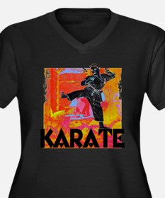 Karate Graffiti Women's Plus Size V-Neck Dark T-Sh
