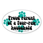 Four-paw household Oval Sticker