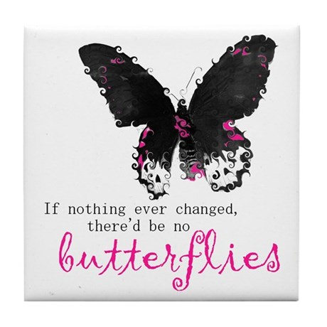 butterfly change Tile Coaster