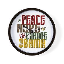 Peace Hope Change Obama 1 Wall Clock
