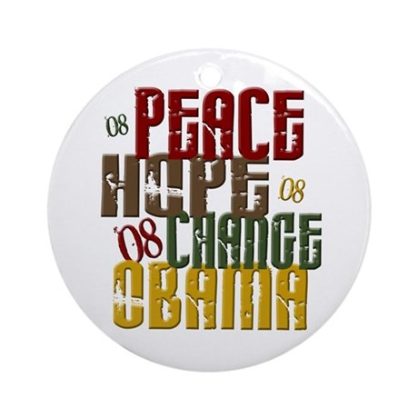 Peace Hope Change Obama 1 Ornament (Round)